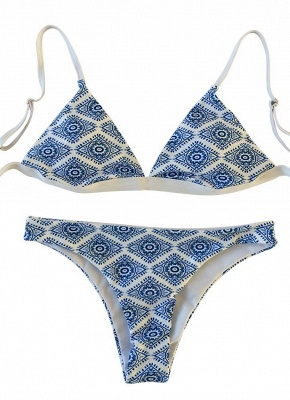 Geometric Print Wireless Swimsuits UK Bikini Set UK_4