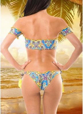 Geometric Print Off the Shoulder Short Sleeves Wireless Bathing Suit UK_4