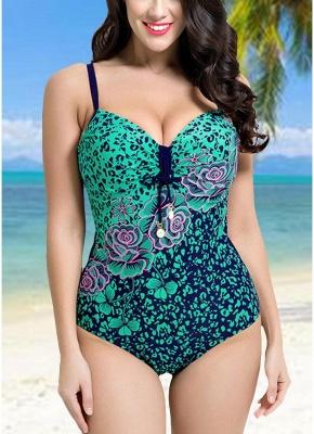 Modern Women Large Size One-Piece Swimwear Push Up Padding Wireless Swimsuit_3