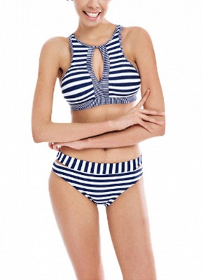 Striped Cut Out Tie Back Padded Bikini Set_1
