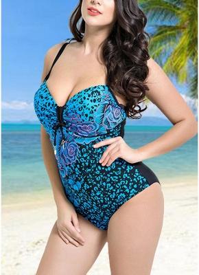 Modern Women Large Size One-Piece Swimwear Push Up Padding Wireless Swimsuit_6