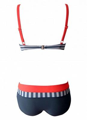 Women Bikini Set UK Swimsuits UK Bathing Suit UK Stripe Polka dots Print Contrast Push Up Underwire Padded Tank Top Bathing Suit UK_8