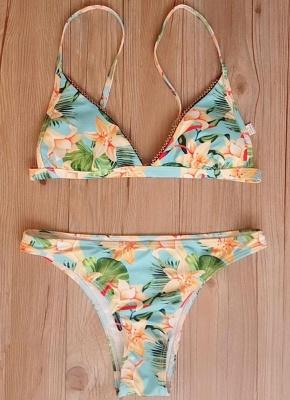Printed Beading Trim Triangle Padded Bikini Set_6