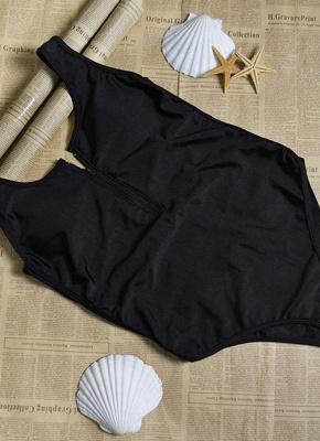 Sexy Open Back Sleeveless Zipper Padding Wireless One-Piece Bathing Suit_5