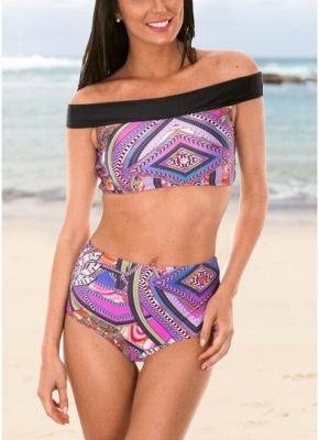 Bohemian Women Tank Top Bikini Set UK Off Shoulder Colorful Geometric Print Padded High Waist Hot Bathing Suit UK_1
