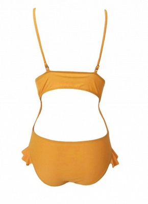 Womens Ruffle One Piece Swimsuit Cutout Sexy Open Back Adjuastable Strap Padding_4
