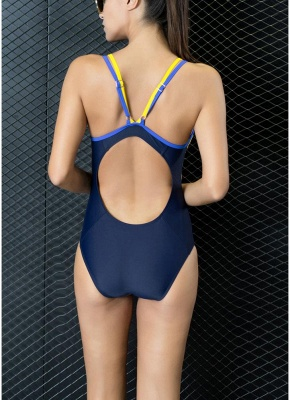 Athletic Contrast Strap Push Up Sexy Open Back Racing Competition One Piece Swimsuit_4