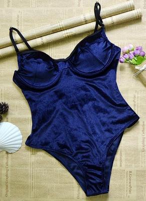 Royal Dark blue l Hot Women Velvet Underwire Push-Up Solid One-piece Bathing Suit UK_4