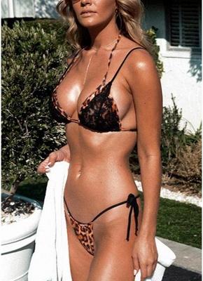 Womens Swimsuits Leopard Print Lace Halter Bandage Thong Bikini Bathing Suit Swimsuit_2