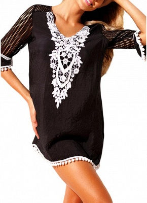 Crochet Lace Hollow Out Half Sleeves Loose Cover Ups_4