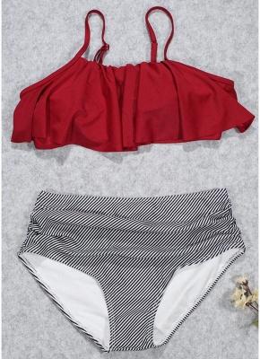 Modern Women Bikini Set Ruffles High Waist Ruched Padded Wireless Two Piece Swimsuit Swimwear_1