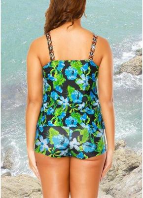 Floral Strap Tankini Top Shorts Set Bathing_5