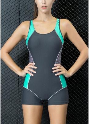 Modern Women One-Piece Swimwear Color Splice Cut Out Padding Bathing Suit Swimsuits_3