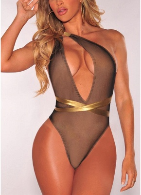 Plunge V Contrast Straps Bodycon Open Back Hot One Piece Bathing Suit UK_3
