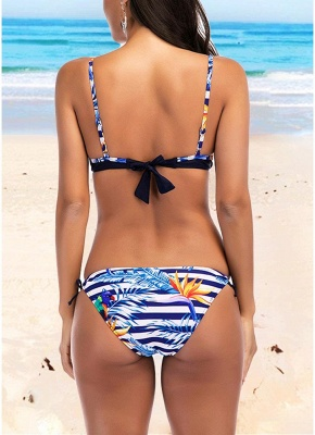 Womens Striped Print Bikini Set Sexy Open Back Low Tie Waist Bathing Suit Swimsuit Beach Bathing_3