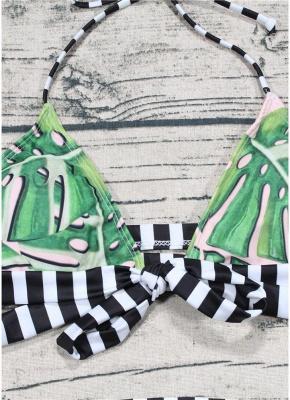 Leaf Striped Halter Tie Back Padded Bikini Set_6