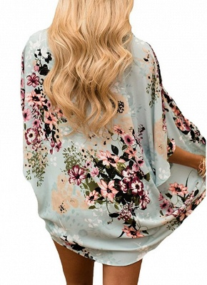 Summer Women Floral Chiffon Cardigan Sexy Open Front Half Sleeve Kimono_4