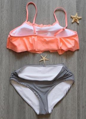 Modern Women Bikini Set Ruffles High Waist Ruched Padded Wireless Two Piece Swimsuit Swimwear_5