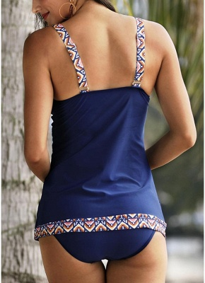 Print Trims Ruched Front Tankini Set_4