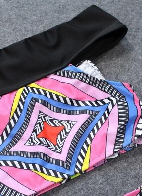 Bohemian Women Tank Top Bikini Set UK Off Shoulder Colorful Geometric Print Padded High Waist Hot Bathing Suit UK_5