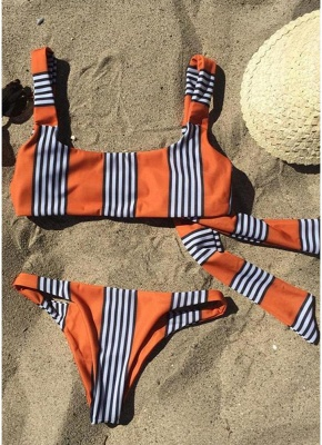 Striped Back Knot Bikini Set_5