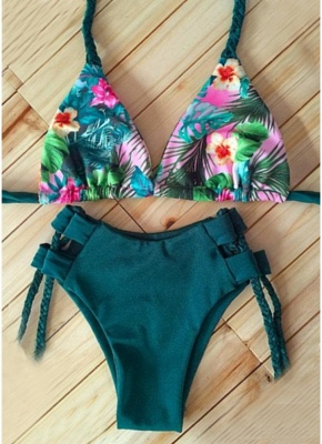 Floral Halter Braided Bodycon Padded Hollow Out Women Bikini Set UK_6