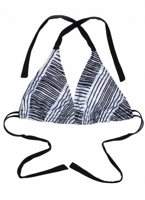Halter Striped Sexy Open Back Push Up Bikini_4