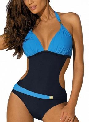 Modern Women's Contrast Color Block Halter Backless One Piece Swimsuit_2