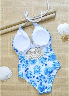 Womens Floral One Piece Halter Swimsuit Front Lace Splice Swimwear Bathing Suit White_4