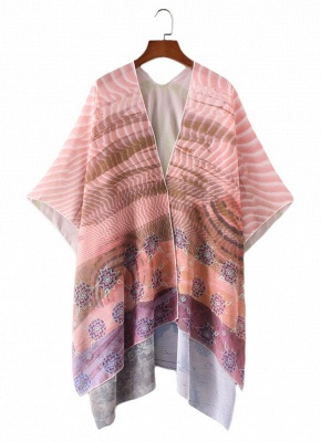 Front Floral Print 3/4 Sleeves Beach Thin Casual Outerwear_4