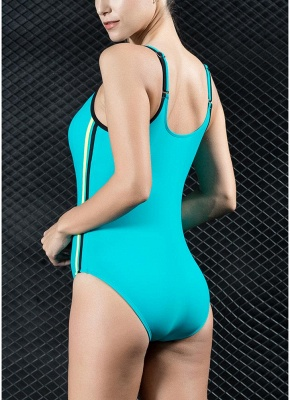 Womens Sports One Piece Swimsuit Bathing Suit Sexy Open Back Splice Racing Training Swimsuit_6