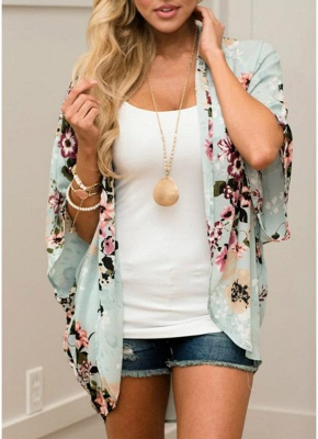 Summer Women Floral Chiffon Cardigan Sexy Open Front Half Sleeve Kimono_1