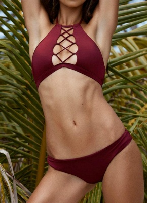 Halter Neck Lace Up Front Low Waist Bikini_2