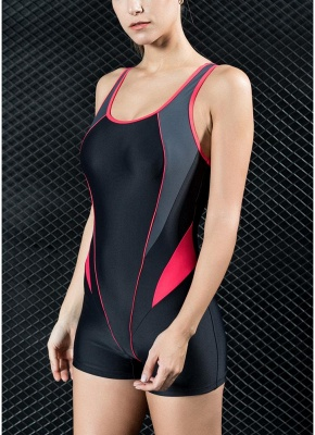 Womens Sports One Piece Swimsuit Bathing Suit Shorts Splice Racing Training Swimsuit_4