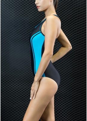 Sport Color Block Splicing Push Up Racer Sexy Open Back One Piece Swimsuit_3