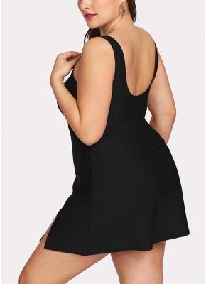 Modern Women Plus Size One Piece Swimsuit Push Up Solid Swimwear Bathing Suit_4