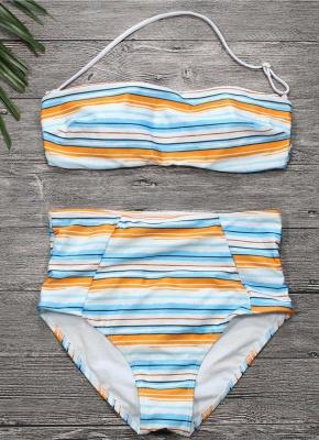 Womens Strapless Swimsuit Striped Print Halter Bikini Set Beach Bathing Suit Swimsuit_2
