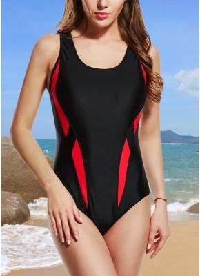 Women One-Piece Swimsuits UK Color Splice Sleeveless Padding Wireless Bathing Suit UK Beach Wear_1