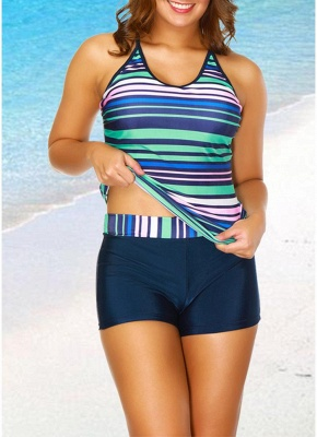 2xl Modern Women Tankini Set Spaghetti Strap Sleeveless Bathing Suit Beach Swimwear_1