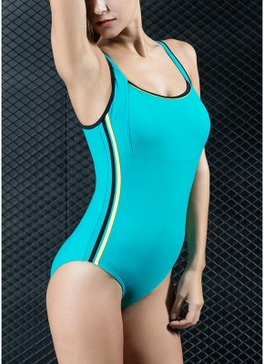 Womens Sports One Piece Swimsuit Bathing Suit Sexy Open Back Splice Racing Training Swimsuit_5