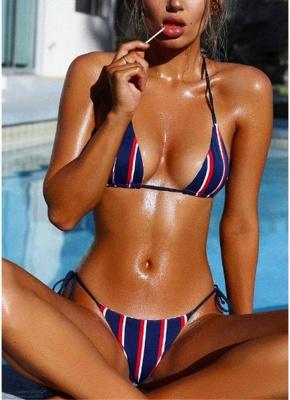 Halter Push Up Striped Tie Waist Padded Womens Bikini Set_2