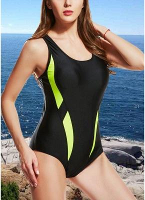 Women One-Piece Swimsuits UK Color Splice Sleeveless Padding Wireless Bathing Suit UK Beach Wear_2