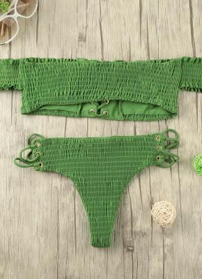Hot Women Smocked Off the Shoulder Lace Up Bikini Set UK_5