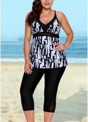 Retro Women Tankini Capris Deep V Printed Cross Over Sexy Backless Bathing Suit UK_1