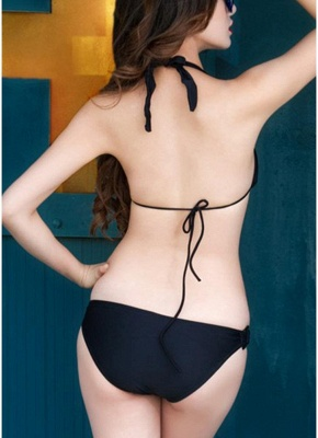 Halter Sexy Open Back Bathing Suit Triangle Cups Push Up Bikini_4