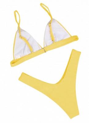 Womens Thong Bikini Set Spaghetti Strap Tank top Swimsuit Solid Swimsuit_3