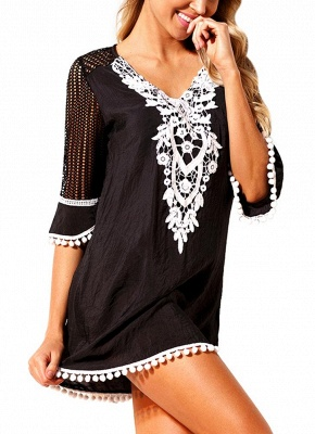 Crochet Lace Hollow Out Half Sleeves Loose Cover Ups_3