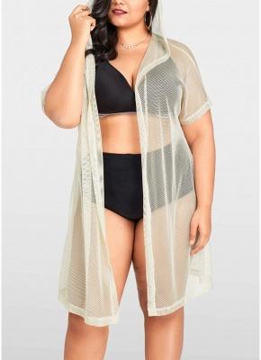 Modern Women Bikini Cover Up Fishnet Hooded Cardigan Plus Size Outerwear Beachwear_1