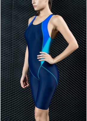 Womens Sports One Piece Swimsuit Full Brief Knee Professional Bathing Suit Swimsuit_6