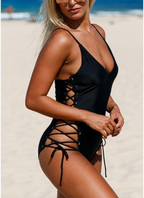 Womens One Piece Swimsuit Bathing Suit Deep V-Neck Lace Up Sides Swimsuit_6